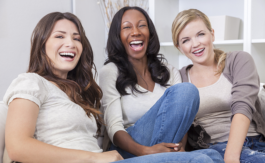 laughing group of young women