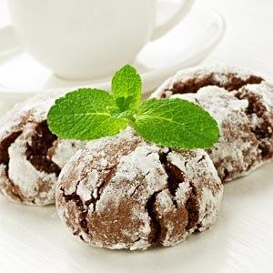 Chocolate mint snowball cookies