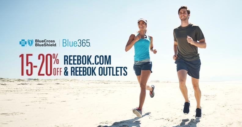 20 percent discount at Reebok.com or 15 percent off at Reebok outlet stores